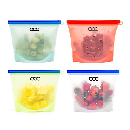 Silicone Storage Bags for Food 4 Pack Quart Size Resealable Bag Sandwich Bags Zip Top for Stand Up Freezer and Fridge Storage Microwavable Dishwasher Friendly Baby Food Storage