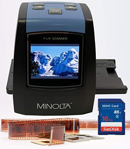 MINOLTA Film & Slide Scanner, Convert Color & B&W 35mm, 126, 110 Negative & Slides, Super 8 Films to High Resolution 22MP JPEG Digital Photos, 16GB SD Card, Worldwide 110V/240V AC Adapter (Black)