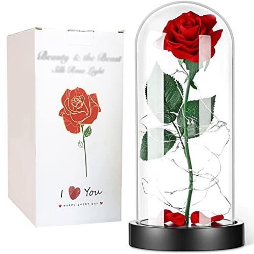 MIAE 2 Tipos De Luces Cúpula De Vidrio Flor De Rosa, Batería Y USB, con Cadena De Luz LED Y Pétalos, Flor Artificial para Regalo De San Valentín Decoraciones Navideñas
