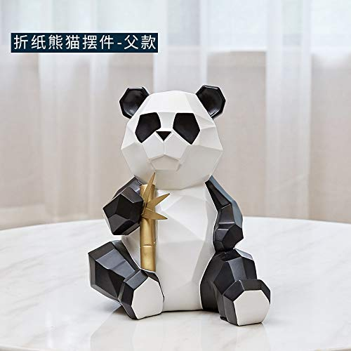 YL-adorn art Estatua Sculpture Animales De Origami Creativo Panda De Figurillas Papa Estatua De Resina De Estilo Europeo Ilustraciones para El Salón Mesa Accesorios De Navidad Adornos Barra De O