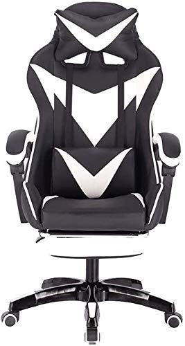 Xiuyun - Silla de juego con reposapiés y silla reclinable con diseño ergonómico para el hogar con reposacabezas y almohada lumbar de masaje (color: blanco negro).