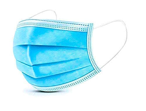 Lake Industries 3 Ply Disposable Mask | 50 pc package | White Elastic Earloop Straps | Blue PPE Facial Protective Shields | Breathable & Lightweight | Filters Dust & Pollutants | Covers Nose & Mouth