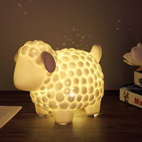 zxb-shop Lámpara de Escritorio para Sala de Oficina En Forma de Porcelana Blanca Animal lámpara de Mesa, ovejas, Dormitorio lámpara de cabecera de Carga   Lámpara de Mesa de Noche