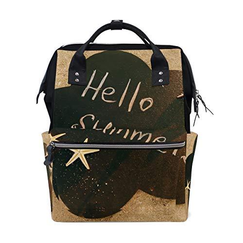 Hello Summer Beach Sable Sac à dos à langer pour maman femme Sac à langer multifonction Grand sac à dos de voyage école école extérieur