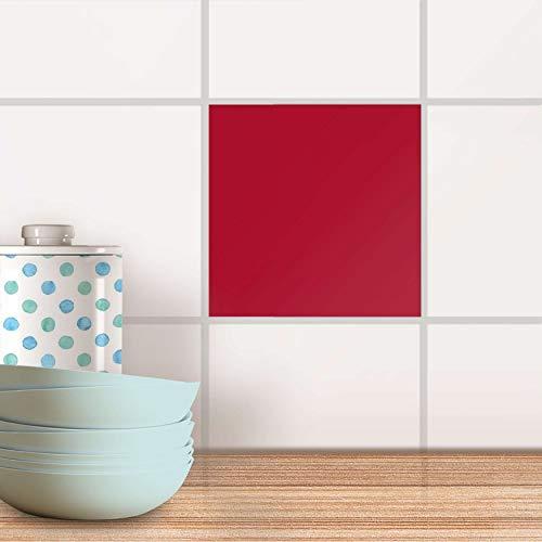 Küche Bad Fliesentattoo I Fliesendeko Badezimmer-Fliesen Fliesenmotiv Badezimmerdeko I 20x20 cm Farbe Rot Dark - 1 Stück