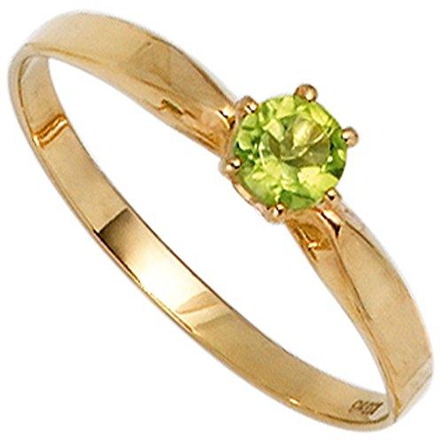 JOBO Damen-Ring aus 585 Gold mit Peridot Größe 56