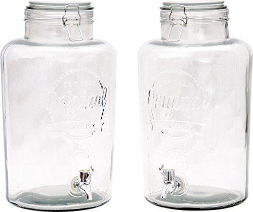 2 Stück XL Getränkespender (je 8 Liter) aus Glas mit Zapfhahn