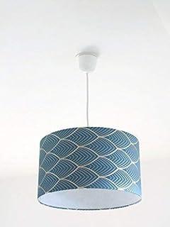 Lustre suspension plafonnierabat-jour art déco géométrique bleu et argent Luminaire diamètre personnalisé cylindre rond id...
