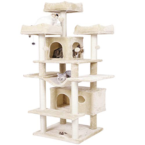 MSmask Kratzbaum groß XXL, 175cm Katzenbaum Grosse Katzen stabil mit 3 großer Aussichtsplattform,Katzenkratzbaum für große Katzen, Sisal-Kratzstangen (Beige)