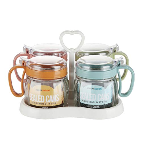 UPKOCH 4pcs Glass Seasoning Box Set with Tray Seasoning Rack Spice Pots Clear Glass Spice Box Jars for Kitchen Home