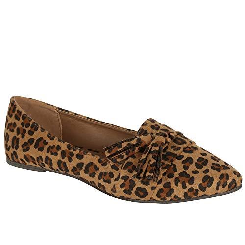 Romancan Damen Ballerinas Flache Schuhe Elegant Leopard Loafer Wies Wildlederschuhe mit Fransen,  Leopard, 37 EU