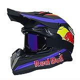 NNYY Casco Motocross,Casco de Cross Casco Integral Moto Protección Cabeza Cascos,ECE Homologado Off-Road Enduro Downhill Racing Casco ATV MTB BMX Cascos de Moto Red Bull A,Negro,M