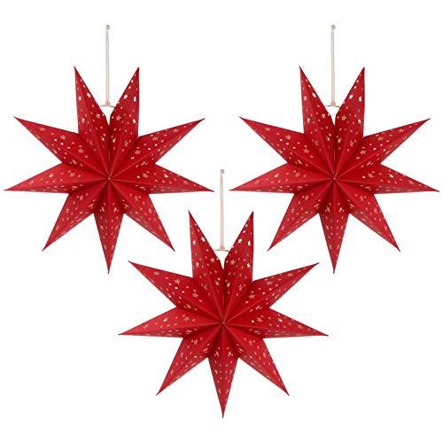 Mobestech 3St. 35CM LED Weihnachtsstern Lampe Papier Lampenschirm 3D Außenstern Papierstern Laterne für Weihnachten Silvester Hochzeit Party Hängende Dekoration Ornament Fensterdeko Rot
