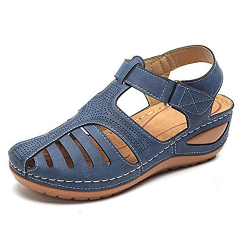 Sandalias con Punta Cerrada para Mujer, Zapatos Casuales Planos De Cuero Suave De Verano Transpirables Ahuecadas, para Caminar Interior Exterior,Blue-36