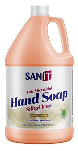 Sanit Silky Clean Antibacterial Liquid Hand Soap Refill - Advanced Formula with Coconut Oil and Aloe Vera - All Natural Moisturizing Hand Wash - Made in USA, Original Gold, 1 Gallon
