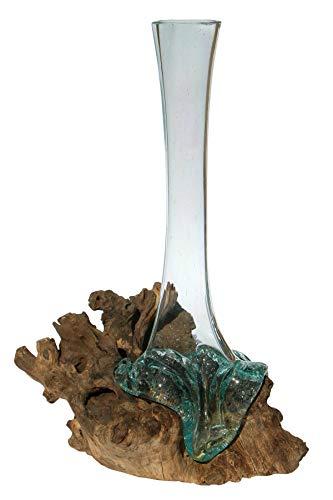 Geschenk B-Ware schöne 40-45 cm Deko Gamal Wurzelholz Glasvase Teak Wurzel Holz Teakholz Bali Glas Vase L