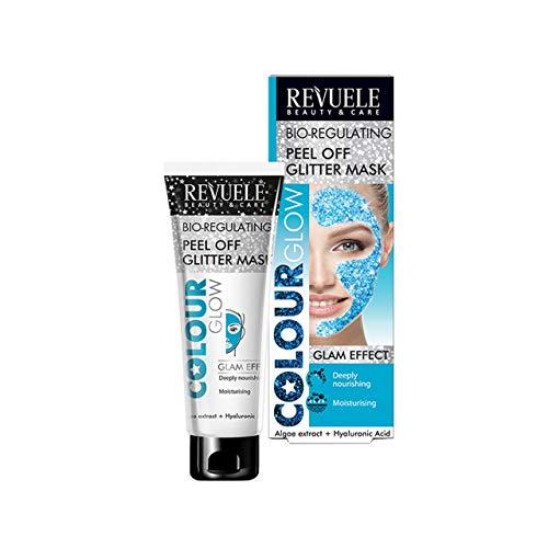 Revuele Farbe Glow Bio-regulierendes Peeling Glitter-Gesichtsmaske Glam-Effekt für alle Hauttypen mit Algenextrakt und Hyaluronsäure, 80 ml