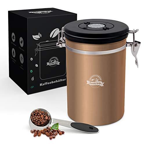 Panda Grip Kaffeedose, Kaffedose Aromadicht 500g Bohnen Kaffeedose Luftdicht Edelstahl Aromadose Kaffee Dose Behälter mit Löffel kaffeeaufbewahrungsdose für Kaffeebohnen Pulver Tee Nüsse Kakao 1800ml