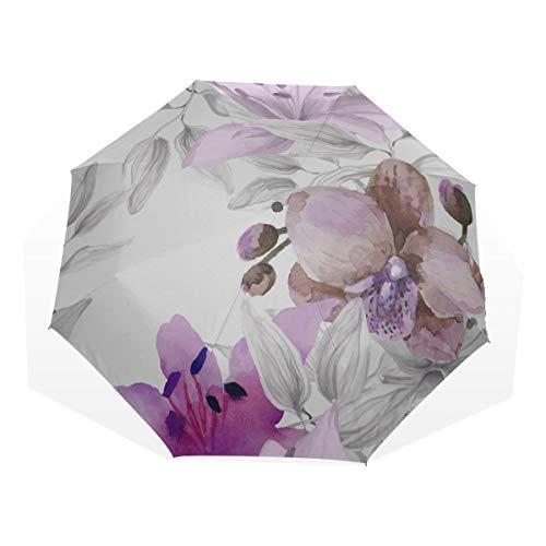 Reise Regenschirm Orchidee Blume Aquarell Anti Uv Compact 3 Falten Kunst Leichte Faltbare Regenschirme (Außendruck) Winddicht Regen Sonnenschutz Regenschirme Für Frauen Mädchen Kinder