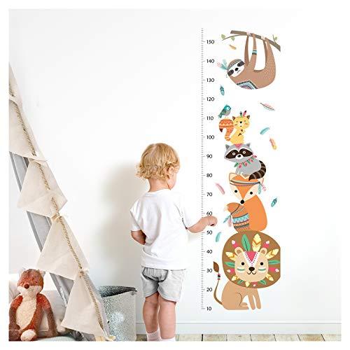 Little Deco Wandaufkleber Kinderzimmer Junge Messlatte | 150cm Löwe Waschbär Safari | Tiere Wandtattoo Kinder Wandsticker Aufkleber Dekoration DL351