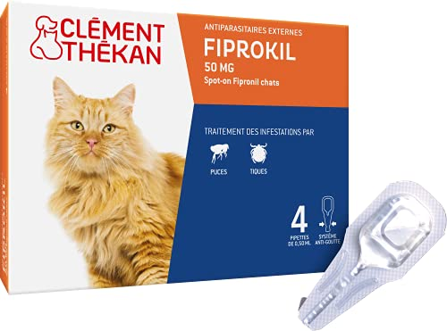 CLEMENT THEKAN Fiprokil 50 MG Spot-on FIPRONIL Chats - Anti-puces et Anti-tiques - Chats - 4 pipettes