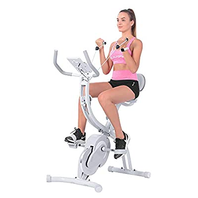 OneTwoFit Folding Exercise Bike,Foldable Magnetic Upright Exercise Bike with Arm Resistance Bands,Indoor Cycling Bike Stationary Bike with LCD Monitor,Perfect for Home Use,Capacity of 260 lbs,OT202