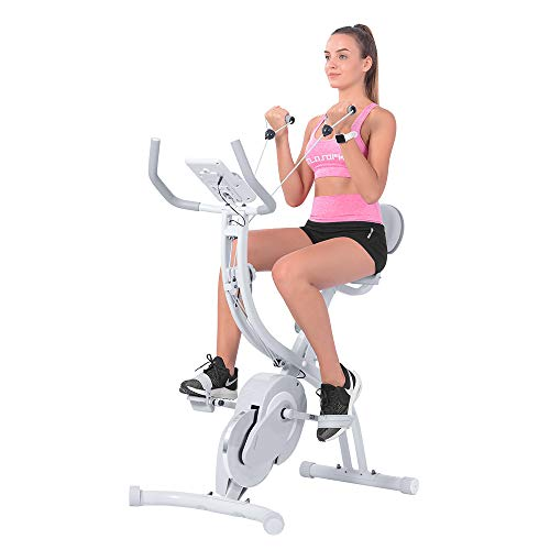 OneTwoFit Folding Exercise Bike,Foldable Magnetic Upright Exercise Bike with Arm...
