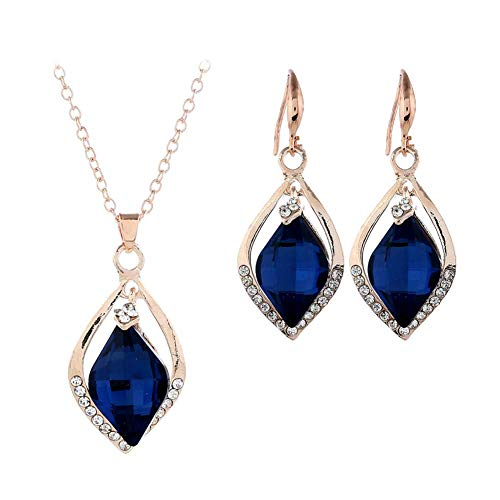 Tcplyn Womens Jewellry Set Wedding Bridal Blue Crystal Necklace Earring Set Gift for Women Girls Durable and Useful