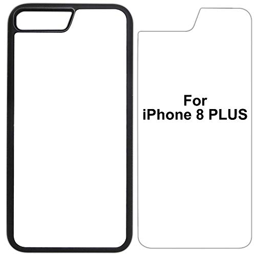 10x Sublimation Blank Cases Compatible with Apple iPhone 8 Plus-Rubber-Black - Blank Dye Cases and Inserts for Dye Sublimation Phone Cover/Blank Printable Cases, Made by INNOSUB USA