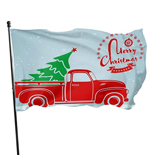 Oaqueen Flagge/Fahne Fly Breeze Garden Flag House Flag Yard Banner Flag-Merry Christmas Truck Outdoor Seasonal and Holiday Yard Flag Banner 3x5 Ft (90x150cm)