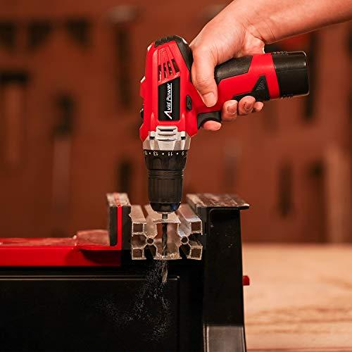 Avid Power 12V Cordless Drill, Power Drill Set with 22pcs Impact Driver/Drill Bits, 2 Variable Speed, 3/8'' Keyless Chuck, 15+1 Torque Setting