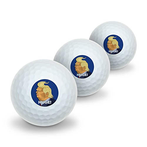 GRAPHICS & MORE Huge! Donald Trump Caricature with Wind Blowing Hair Funny Novelty Golf Balls 3 Pack