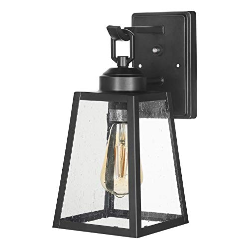 DEWENWILS Dusk to Dawn Outdoor Wall Light, Seeded Glass Shade, Outdoor Light Fixtures Wall Mount, Weatherproof Porch Light, E26 Socket, Exterior Wall Sconce for Garage, Entryway, Deck, ETL Listed