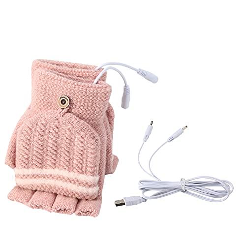 USB da Donna Guanti scaldamani USB Guanti Invernali riscaldanti per Dito Pieno Caldo e Mezzo Dito Senza Dita Mano Calda Portatile (Rosso Scuro)