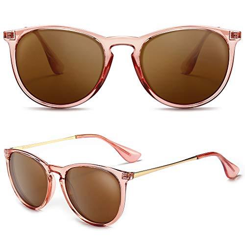 SUNGAIT Polaroid Gafas de sol Mujer Hombre Retro Redondas Unisex 400 UV (Lente Polarizada Marrón Claro / Marco Rosa Marrón (Acabado Brillante))
