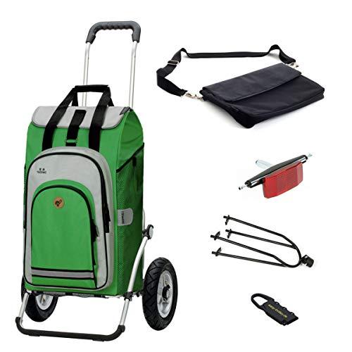 Andersen Einkaufstrolley Royal luftbereift mit Fahrrad-Anhängerkupplung und 62 Liter Einkaufstasche Hydro grün mit Kühlfach, extra Laptoptasche