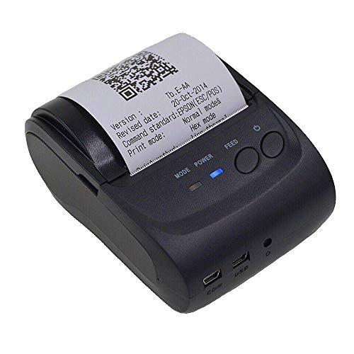 サーマルプリンタ 紙幅 58mm 小型 Bluetoothプリンタ 熱ワイヤレスポータブルミニパーソナル 小型 プリンター 便携式 領収書/レシート POSプリンター iOS Android レジロール紙 (POSプリンター)