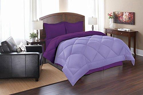 Elegant Comfort Goose Down Alternative Reversible 3pc Comforter Set, King/Cal King, Lilac/Purple