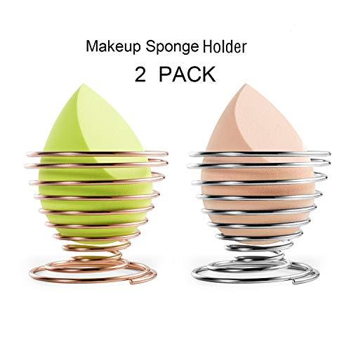 Makeup Sponge Holder Beauty Sponge Blender Holder (1Pack Silver and 1Pack Rose Gold) Makeup Sponge Drying Stand Storage Egg Powder Puff Display Stand