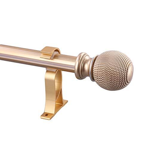Start enkele gordijnroede, 28 mm diameter gordijnroede, set ballefinials inclusief matching finials, klemdragers & hardware 47.2inch(120cm) goud