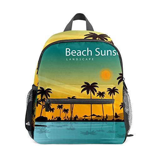 Backpack Student Bookbag for Kids Girls Boys,Landscape Beach Sunset Casual Daypack School Travel Bag Organizer Gift