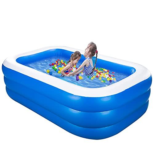 HLJS Aufblasbarer Pool Rechteckig, Verdicktes Groß Rechteckig Schwimmbecken Für Garten Balkon Family Kinder Aufstellpool - Planschbecken (140X96X45CM)