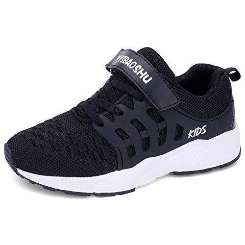Minbei Unisex Kinder Hallenschuhe Jungen Sneakers Atmungsaktive Sportschuhe Laufschuhe Mädchen Leichte Turnschuhe Schwarz 27 EU