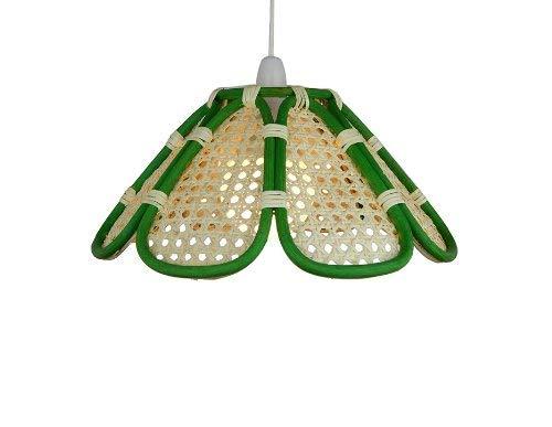 Lighting Web Company Abat-jour avec 8 panneaux en rotin et cane verte