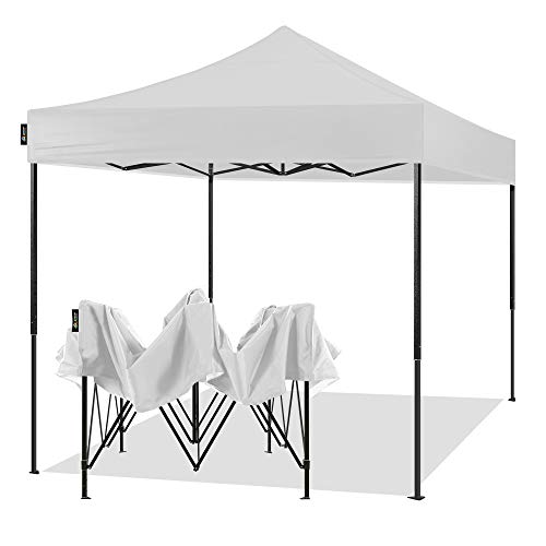 AMERICAN PHOENIX 10x10 Pop Up Canopy Tent Portable Instant Commercial Tent Heavy Duty Outdoor Market Shelter (10'x10' (Black Frame), White)