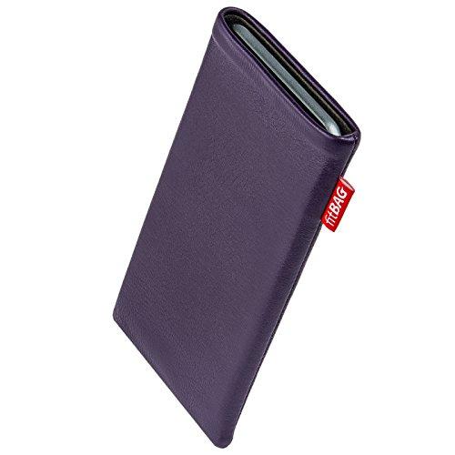 fitBAG Beat Lila Handytasche Tasche aus Echtleder Nappa mit Microfaserinnenfutter für Carbon 1 MKII | Hülle mit Reinigungsfunktion | Made in Germany