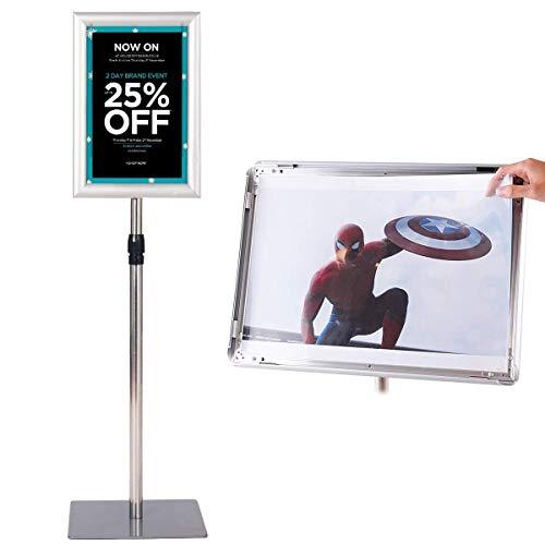 COSTWAY A4 Poster Stand, Espositore da Pavimento, Supporto Poster/Menù per Pubblicità da Terra, Girevole a 360 Gradi, Regolabile in Altezza (Argento)