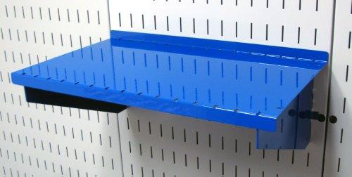 Wall Control Pegboard Shelf 9in Deep Pegboard Shelf Assembly for Wall Control Pegboard and Slotted Tool Board – Blue