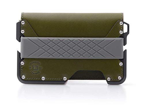 Dango D01 Dapper Bifold Wallet - Made in USA - Genuine Leather, CNC Alum, RFID Blocking (Moss Green/Slate Grey Bifold)