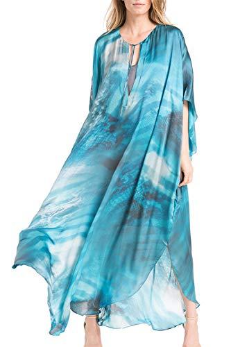LikeJump Donna Stampato Caftan Abito da Spiaggia Maxi Parei Copri Bikini Costume da Bagno Cover Up